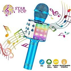 ShinePick Microphone Karaoké Sans Fil, Micro Karaoké Bluetooth avec 5W Haut Parleur, Microphone Portable pour Enfants/Adultes Chanter, Compatible avec Android/IOS/PC/Smartphone (Bleu)