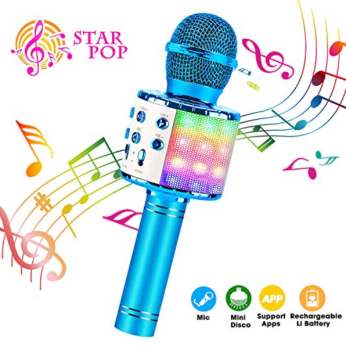 Shinepick microfono karaoke, 4 in 1 bluetooth wireless led flash microfono portatile karaoke player con altoparlante per android/ios, pc e smartphone(blu)