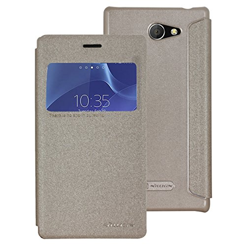 Nillkin Sparkle Leather Flip Stand Bumper Back Case Cover ForSony Xperia M2 Dual Sim S50H - Gold