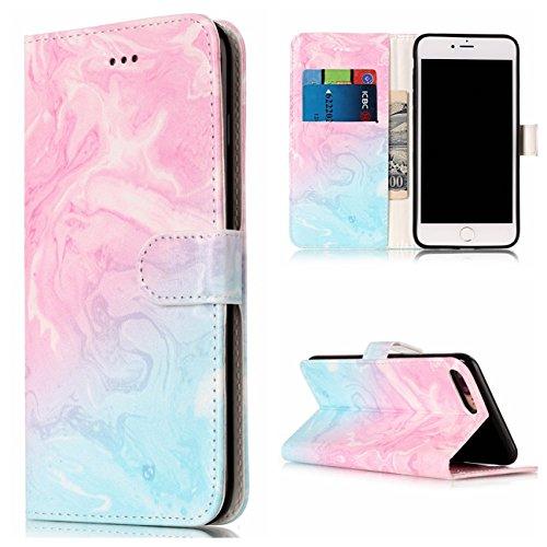 iPhone 7 Plus Coque, Voguecase Étui en cuir synthétique chic avec fonction support pratique pour Apple iPhone 7 Plus 5.5 (marbre-pink)de Gratuit stylet l'écran aléatoire universelle marbre-bleu pink