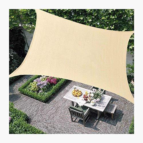 HHJJ Sonnensegel Rechteck Wasserdichter Sonnensegel-Baldachin für Terrassen Quadratische UV-Blockmarkise Dickes, abriebfestes, beigefarbenes Sonnensegel-Tuch,3x5m(10x16.5ft)