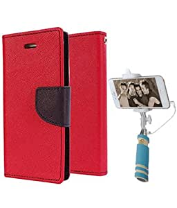 Aart Fancy Diary Card Wallet Flip Case Back Cover For Redmi 1s -(Red) + Mini Aux Wired Fashionable Selfie Stick Compatible for all Mobiles Phones By Aart Store