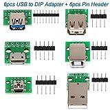 6pcs convertisseur adaptateur USB vers DIP, Mini 5p USB femelle, 2.54mm 4p USB mâle,...