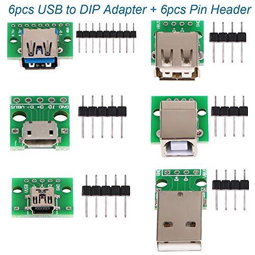 6pcs USB zu DIP Adapter Konverter, Mini 5p USB-Buchse, 2.54mm 4p USB-Stecker, USB 2.0 4p-Buchse, USB 3.0-Flachsteckbuchse, Micro-USB-Typ B-Buchse, USB-Typ-B-Quadrat-Schnittstelle Buchse DIP-PCB-Modul Usb-buchse