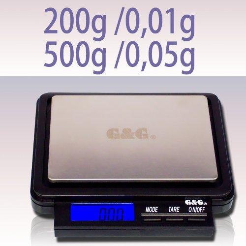 G&G FH500 Mini-bilancia digitale massima precisione, 200 g/0,01 g - 500 g/0,05 g, ottima per pesare oro, monete, ecc
