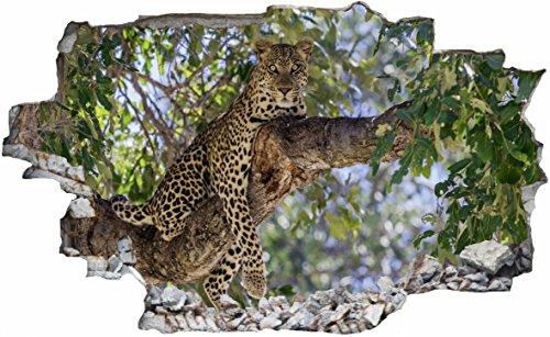 DesFoli Gepard Leopard 3D Look Wandtattoo 70 x 115 cm Wanddurchbruch Wandbild Sticker Aufkleber C034 (Leopard-druck-folie)