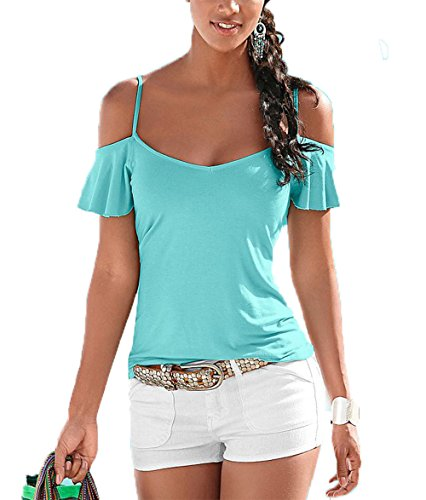 Hoverwings Tee Shirt Griff Kurze doppelt nue-Femmes- Sexy Tops Hat Neckholder Kragen V S X L, blau, M