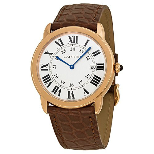 Cartier-Mens-36mm-Brown-Alligator-Leather-Band-Rose-Gold-Plated-Case-Swiss-Quartz-Analog-Watch-W6701008