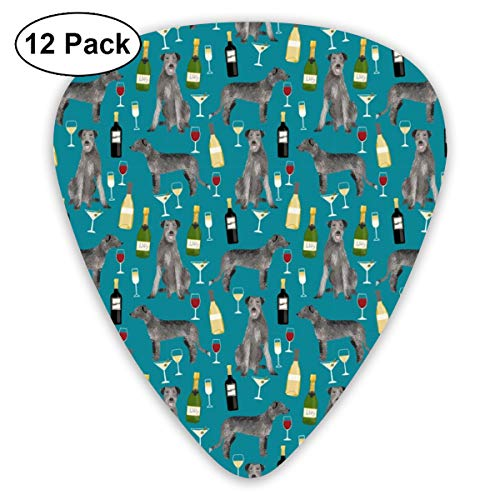Irish Wolfhound And Wine - Cute Dogs And Wine Design Classic Celluloid Picks, 12-Pack, For Electric Guitar, Acoustic Guitar, Mandolin, And Bass -