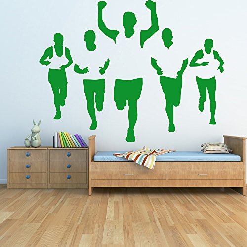 Runners Wall Sticker Athletic Adesivo Art disponibile in 5 dimensioni e 25 colori Extra Grande Verde muschio - Adesivo Runner