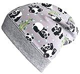 Wollhuhn Beanie-Mütze Panda grau, für Jungen und Mädchen, 20171112, Größe XS: KU 42/46 (ca 6 Mon. bis 2 Jahre)