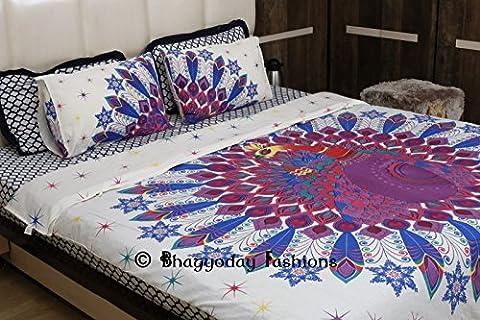 Bhagyoday Fashions- Dancing Peacock Mandala Duvet Doona Cover-Urban Mandala Duvet Cover-Ombre Peacock Cotton Throw-Boho Reversible Quilt Cover Twin Size Bedding