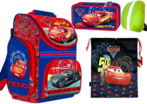 Disney Cars 3 Set Ranzen Schulranzen, gefüllte Federtasche Federmappe 2-Fach, Turnbeutel, Regenschutz 4 teiliges Set Schulset rot. blau Jungen