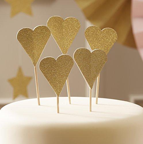 Ginger Ray Gold Sparkle Glitter Hochzeit/Party Herz Cupcake Topper Dekorationen - In Pastellfarben Perfektion