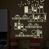 MiniWall Leuchtende Aufkleber Wand Bett für Kinder Schlafzimmer Poster Cartoon Sticker Glas Wand Papier bauen kleine Häuser Autos 85 * 100 Cm