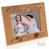 Kate Posh Maid of Honor und Matron of Honor Bilderrahmen 4x6 Horizontal - Matron of Honor Natural Real Wood
