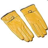 Butterme Womens Touchscreen Texting Driving Winter Warm Lammfell Leder Handschuhe Fahren im Freien Fleece Futter (Gelb)