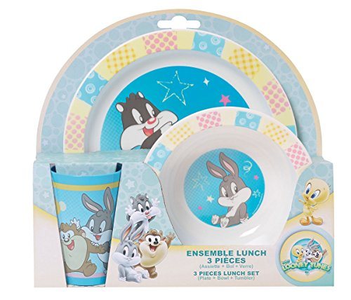Fun House Baby Looney Tunes Ensemble lunch : 1 verre + 1 assiette + 1 bol micro-ondable 250 ml