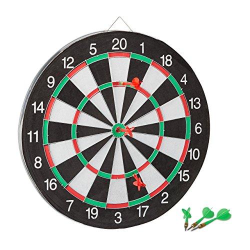 *Relaxdays Dartscheibe Board X1 mit Pfeilen, 43 cm, 6 x Pfeile, zweiseitig, Steeldarts, Dartboard klassisch, schwarz-weiß*