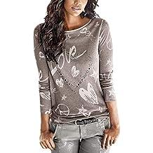 Camicia A Maniche Lunghe Donna Eleganti Moda Stampato Modello di Cuore  Felpa Maniche Lunghe Rotondo Collo 7b2977b531d