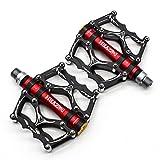 Willyn JT40 Pedali da trekking per bici da corsa, pedali antiscivolo ultra leggeri, 3cuscinetti impermeabili., nero con rosso