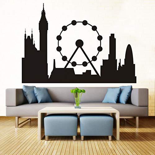 Schwarz Wandbild London Skyline Landmark Silhouette Vinyl Wandkunst Aufkleber Wohnzimmer Wohnkultur Sofa Abnehmbare 83x58cm