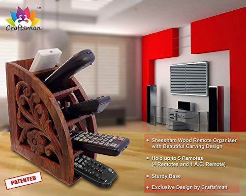 Stylla London Multi Remote Control Holder/Stand/Organiser/Rack for TV, Wood, Brown, 8.82 x 7.32 x 4.17 cm