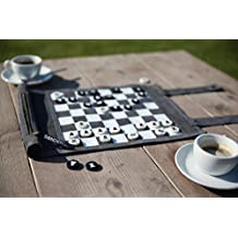 Sondergut - Chess/Checkers Roll-Up Travel Set Leather