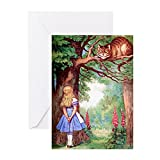 CafePress–Alice und die Grinsekatze–Grußkarte, Note Karte, Geburtstagskarte, innen blanko, matt