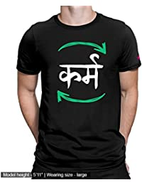 Graphic Printed T-Shirt For Men & Women | Hindi Funny Quote Cotton Printed T-Shirt | Karma T-Shirt | Half Sleeve...