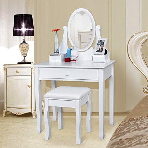 Songmics® Schminktisch Frisierkommode Frisiertisch Kosmetiktisch mit Spiegel inkl. Hocker, weiß, Holz, RDT002 - 3