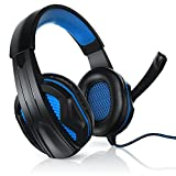 USB Gaming Kopfhörer inkl. Kabelfernbedienung | PC Headset inkl. Mikrofon | Kabelfernbedienung (Media-Control + Mikrofon EIN/AUS) | für Gaming, Musik, Chat, Internet-Telefonie, Filme