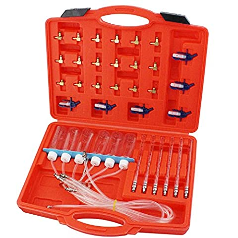Flow Tester Kit, Amazingdeal365 6 Cylinde Diesel Injector Flow Meter Adaptor Set Common Rail Leak Off Tester