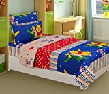 #5: Super India Kids Winni 144 TC Cotton Single Bedsheet with 1 Pillow Cover - Multicolor