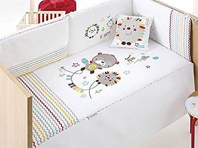 Pirulos 24911600 - Edredón, protector y cojín, diseño espin, 62 x 125 cm, color blanco y lino