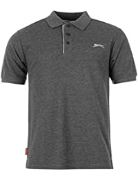 SLAZENGER Polo pour Homme Uni Gris anthracite Top T-shirt pour homme