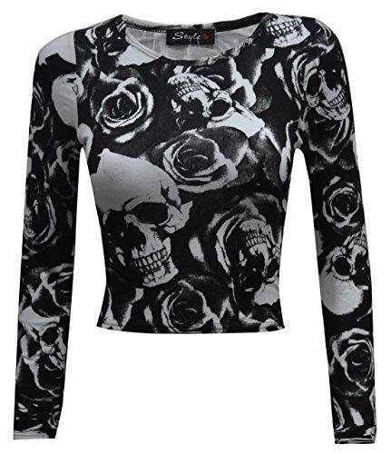 Sugerdiva - Robe - Chemise - Femme Noir noir 23-46 Skull Rose Print