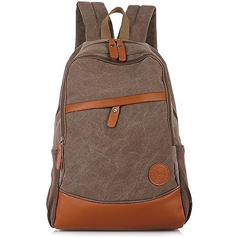 YuHan lienzo mochila mochila para portátil de viaje mochila bolso de escuela Estudiante libro bolsa marrón café