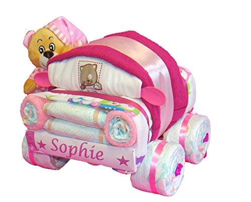 Windeltorte - kleines Windelauto mit Kuschelbärchen rosa