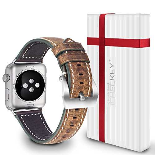 Apple Watch Strap 42MM - ICHECKEY Genuine/ Classic Leather Strap Series 1 Series 2 Watchband with Secure Metal Clasp Classic Buckle Strap Replacement for Apple Watch