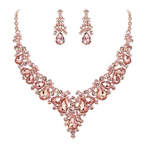 Ever Faith Damen Kristall Braut Bankett Floral Leaf Teardrop Halskette Ohrringe Set Champagne Rosa Gold-Ton Floral Leaf