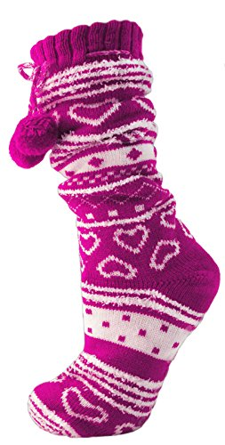 womens-ladies-girls-luxury-fur-lined-slipper-socks-ankle-boot-booties-snowflakes-hearts-knitted-wool