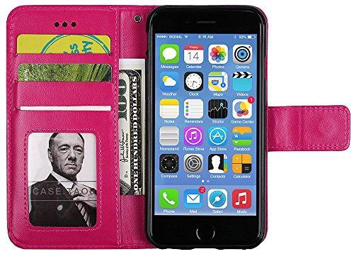 Coque Apple iPhone 6 , iPhone 6 coque silicone, Roreikes Housse Etui pour iPhone 6 nouvelle boutique Folio portefeuille / portefeuille étui en cuir PU de haute qualité cuir [impression de choc] style  Rose