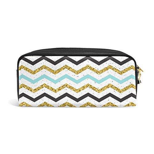 Streifen Leder Reißverschluss Federmäppchen Pen Stationäre Bag Kosmetik Make-up Bag Tasche Geldbörse (Goldener Geburtstag Ideen Für Erwachsene)