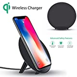 squarex concision Tragbares Qi sicheres Wireless kabelloses Ladegerät Charger Charging Stand für iPhone 8/8Plus/X, Sonstige, schwarz, A:115x56mm