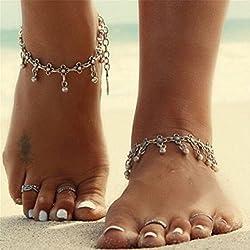 ILOVEDIY 2Stück Fußkettchen Silber Fußkette Kugel Fußkettchen für Damen