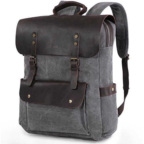 Lifewit Zaino Borsa di 17.3 Pollici in Vera Pelle Anticata per Porta PC/ Macbook Pro/ Ultralbook/ Chromebook, Uomo, Grigio