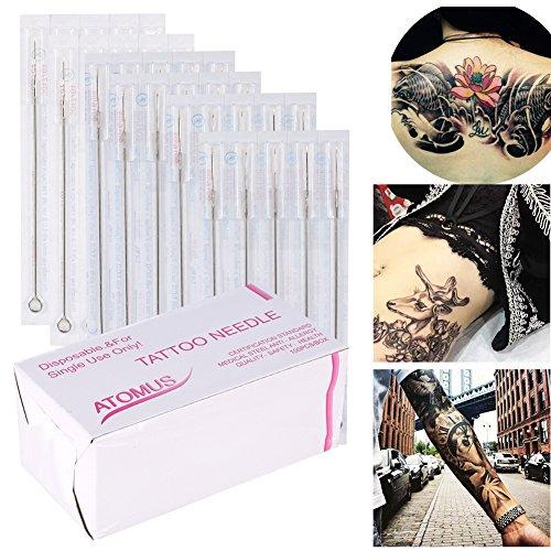 100 piezas Microblading maquillaje permanente de cejas del tatuaje del labio Manual de aguja combina distintos tamaños