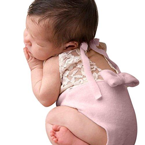 Zolimx Bebé Recién Nacido Fotografía Encaje Atrezzo Bowknot Mameluco Mono de 0-12...
