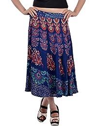 Indi Bargain Rayon Rajasthani Mandala Hand Block Printed Midi Length Wrap Around Skirt (411)
